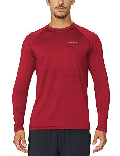 Baleaf Mens Cool Running Workout Long Sleeve T-Shirt Dark Red Size XL
