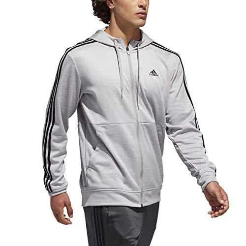 (adidas Men's Tech Full Zip Fleece Hoodie Performance Hooded Track Jacket (X-Large, Grey/Black))