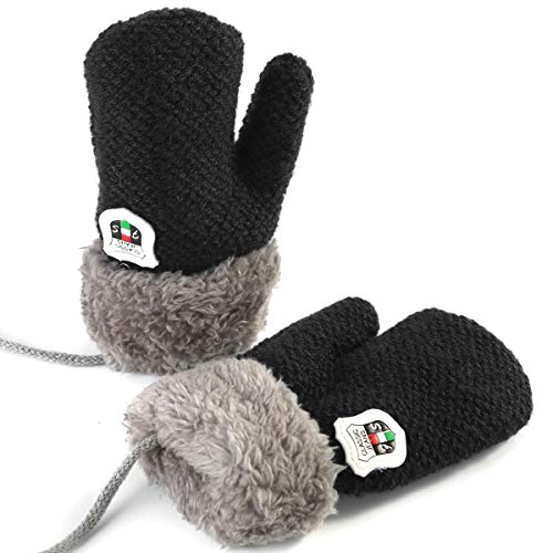 Winter Warm Baby Gloves Mittens - Infant Toddler Kids Knit Plush Lined Gloves Mittens with String for Baby Girls Boys 6 Months - 5 Years (Black)