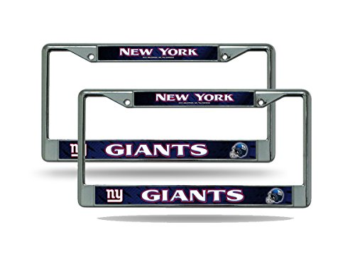 Rico New York NY Giants NFL Chrome Metal (2) License Plate Frame Set ()