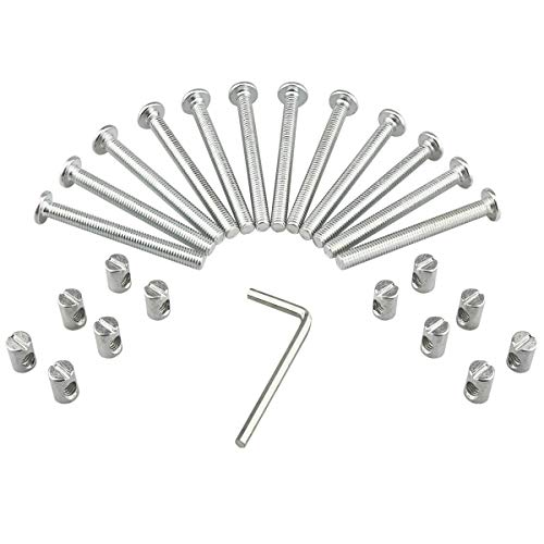(M6 Barrel Bolt Nuts Kit Including M6 x 2.48 inch Barrel Bolts, M6 x 0.49inch Barrel Nuts and 1 x Allen Key, 12 Set for Furniture, Cots, Beds, Crib and Chairs)