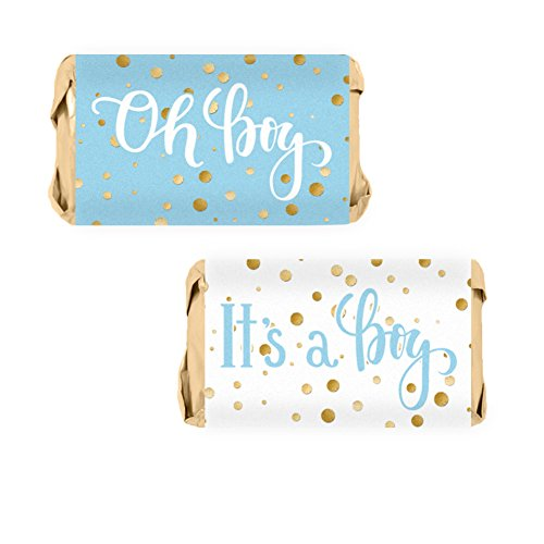 Blue and Gold It's a Boy Baby Shower Favor Miniatures Candy Bar Wrapper Stickers (54 Count) (Shower Wrappers Candy Baby Miniature)