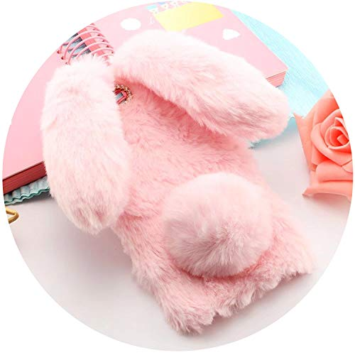 Cute Rabbit Hairy Warm Fur Bling Rhinestone Plush Bunny Case Cover for iPhone Xs 4 4S 5 5S SE 5C 6 6S 8Plus,Pink,for iPod Touch 6 ()