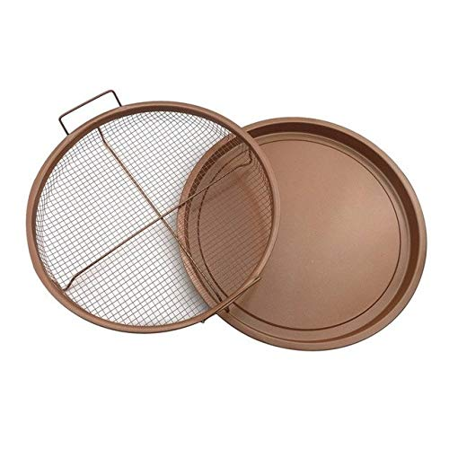 KathShop Copper Rectangle Crispy tray Fry pan French Chef Basket Easy Clean Kitchen Cooking Crispy Tray Baking Pan BBQ Barbecue Tray