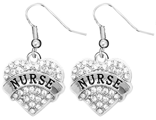 [Nurse Appreciation Gift Earrings Engraved Gift Jewelry For Nurse Crystal Adorned Heart Shaped Pendant French Hook Earrings Gift for Nurse's Birthday] (Nurse Costumes For Teens)