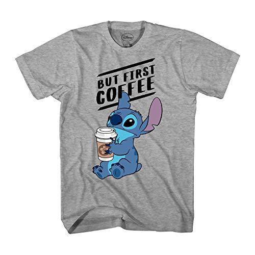 Disney Lilo and Stitch Coffee First Adult T-Shirt (XXL, Heather Grey)