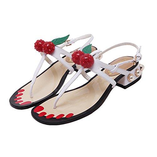 H&W Mujer Low Tacon Planas Sandalias Pearl Cherry Embellecido Flip-flop Blanco