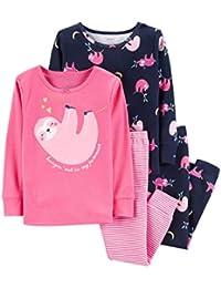Girls Pajamas PJs 4pc Cotton Snug Sloth with Glitter Hearts Set