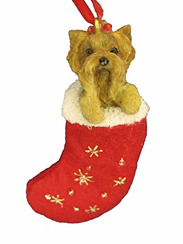 Yorkie Puppy  Christmas Stocking Ornament with