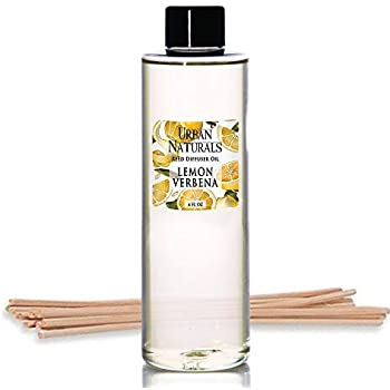 Urban Naturals Lemon Verbena Scented Oil Reed Diffuser Refill | Includes a Free Set of Reed Sticks! 4 oz.