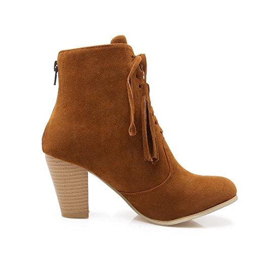 Toe High AllhqFashion Zipper Yellow Heels Closed Low Top Solid Round Womens Boots wax0xO6Fq