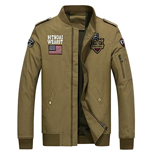 Men's Collar Leisure Khaki Jacket Stand Flag Thicken USA Outwear XINHEO 1PgqWHw1