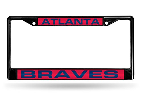 Rico Atlanta Braves Official MLB 12 inch x 6 inch Laser Chrome License Plate Frame by 846893