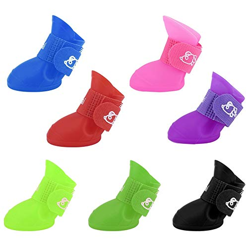 Mouchao Creative Pet Dogs Lovely Comfortable Waterproof PVC Boots Soft Rain Shoes Black S