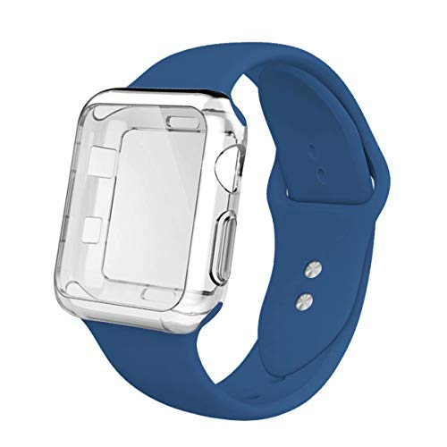 YC YANCH Compatible with Apple Watch Band 42mm with Case, Silicone Sport Strap Replacement Band with Apple Watch Screen Protector Compatible with iWatch Apple Watch Series 1/2/3, M/L Ocean Blue