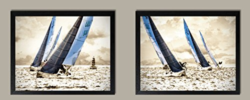 Racing Waters; Modern & Inspiring Beautiful Grey & Blue Sailing Prints; Nautical Decor, Set of Two 14x11in Black Framed Prints; Ready to hang! by Gango Home Decor