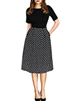 oxiuly Women's Vintage Black Dot Patchwork Pocket Puffy Swing Casual Dress OX165 (2XL, Black)