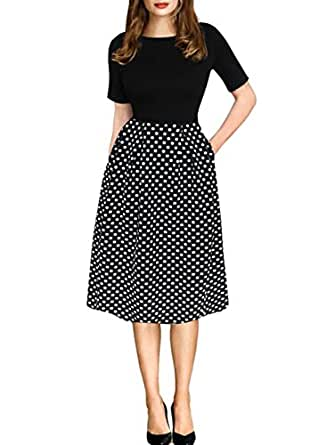 oxiuly Women's Vintage Black Dot Patchwork Pocket Puffy Swing Casual Dress OX165 (S, Black)