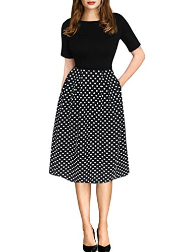 (oxiuly Women's Vintage Black Dot Patchwork Pocket Puffy Swing Casual Dress OX165 (L, Black))