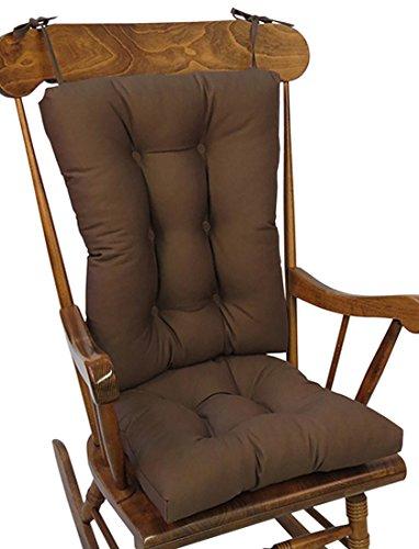 The Gripper Non-Slip Twill Rocking Chair Cushions, Brown