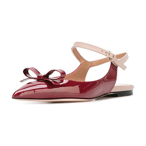 XYD Office Trendy Dress Slingback Flats Pointy Toe Bows Sandals Slip On Pumps Shoes For Women Scarlet outlet footlocker pictures new cheap online free shipping best sale quality original clearance purchase OZk6uKB