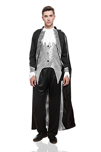 Adult Men Vampire Prince Halloween Costume Lord of Darkness Dress Up & Role Play (One size fits most, black, silver, (Disfraces Halloween Hombre Originales)