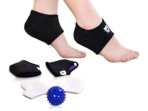 Bitly Comprehensive Plantar Fasciitis Kit-5 pieces Plantar Fasciitis Sleeve, Massage Ball, Foot Arch Support, Foot massager, Heel Pads, Ankle Brace, Relieve Foot Pain and Metatarsal Pain (Large)