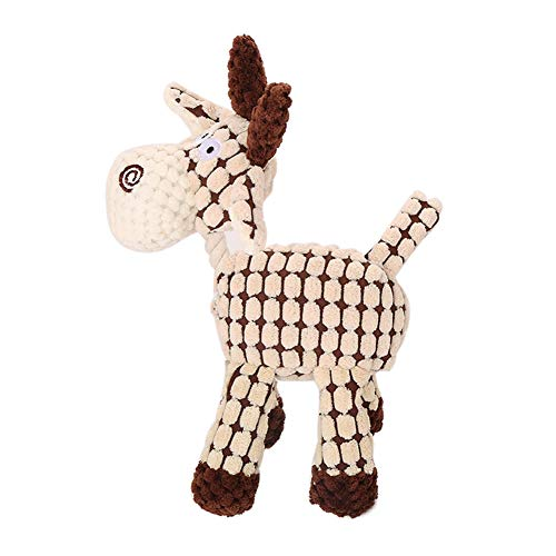 BYyushop Donkey Shape Sound Squeaky Squeaker Pet Dog Chewing Bite Teeth Cleaning Play Toy - Beige