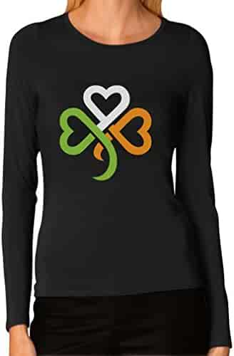 Tstars Shamrock Ireland Clover hearts For ST. Patrick's Day Women Long Sleeve T-Shirt XX-Large Black