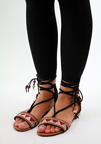 Nueva planas sandalias verano zapatos peep cordones toe azteca de cómodos tobillo mujer negro playa con FFgrwqEU