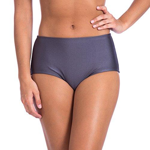 Women's High Waist Solid Ramba Sports Bikini Swimsuit by Gary Majdell (3X, Charcoal)