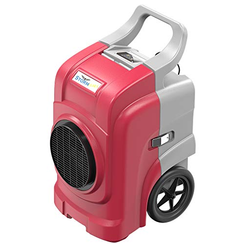 AlorAir Storm Elite Commercial Dehumidifier, 270 PPD High Performance, cETL Listed, LCD Display, 5 Years Warranty, Industrial Dehumidifier with a Pump, Cover 3,000 sq. Ft, for Disaster Rest (Red)