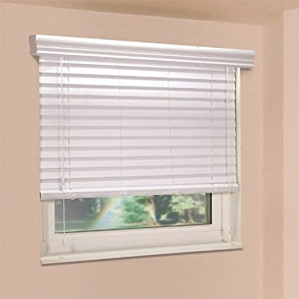 picture window blinds living room fauxwood impressions 36004650 465inch by 36inch window blinds white amazoncom