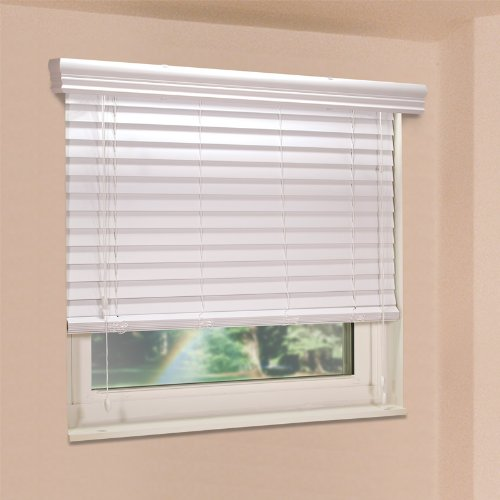 Home Impressions Mini Blind - Fauxwood Impressions 48003450 34.5-Inch by 48-Inch Window Blinds, White