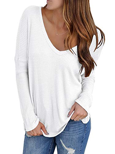 YOMISOY Womens Oversized Shirts Waffle Knit V Neck Loose Long Sleeve Casual Solid Tunic Jumper Tops