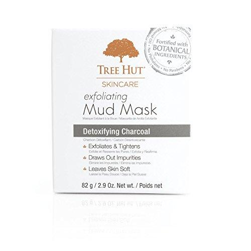 Exfoliating Mask - Tree Hut Skincare Exfoliating Mud Mask, Detoxifying Charcoal, 2.9 Ounce