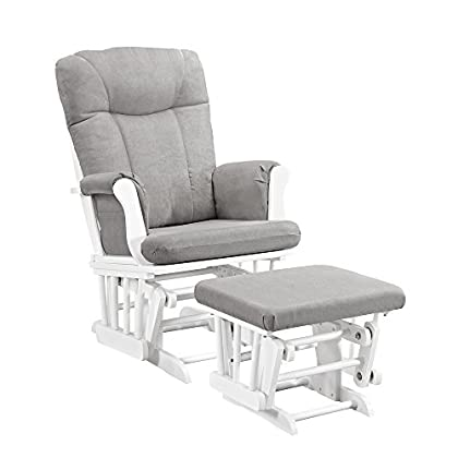Image of Home and Kitchen Angel Line Monterey Glider & Ottoman, White with Gray Cushion