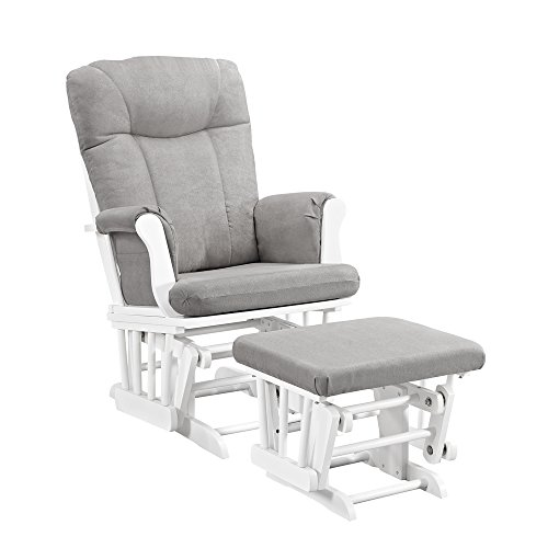 Angel Line Monterey Glider & Ottoman, White with Gray Cushion by Angel Line