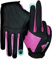 LuxoBike Cycling Gloves Bike Gloves Biking Gloves for Women - Lightweight Breathable Shock Absorbing Full Fing
