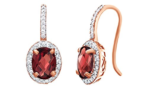 Oval Shape Red Simulated Garnet & White Topaz CZ Frame Drop Earrings in 14k Rose Gold Over Sterling Silver -