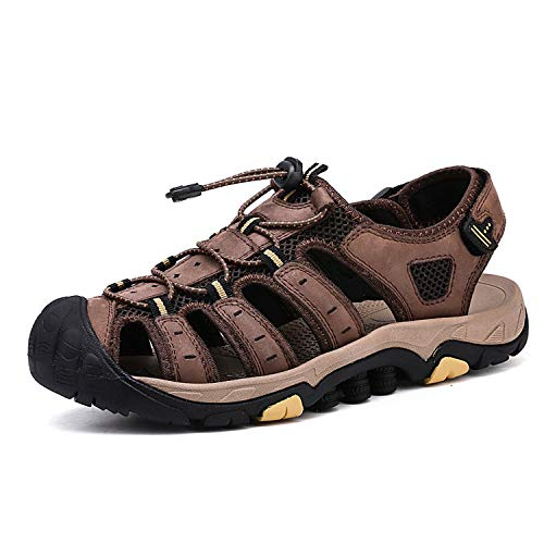 General long-term store-sandal Men SandalsGenuine Leather Business Casual Shoes Man Outdoor Beach Sandals,Brown,9.5