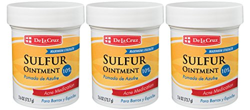 - De La Cruz 10% Sulfur Ointment Acne Medication, Allergy-Tested, No Preservatives, Fragrances or Dyes, Made in USA 2.6 OZ. (3 Jars)