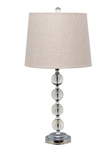 Catalina Lighting 19356-002 Haley Hayley Dimmable Clear Stacked Ball Table Lamp with White Linen Shade