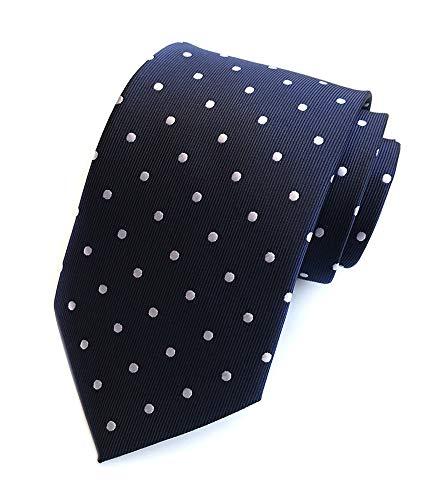 Print Boys Tie - Men's Navy Blue White Polka Dot Silk Cravat Woven Jacquard Ascot Ties Great Gift