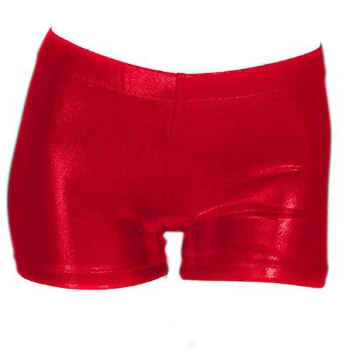 (ZIZI Little Big Girls Sparkle Dance Tumbling Athletic Gymnastics Red Short,140CM(11-12Years))