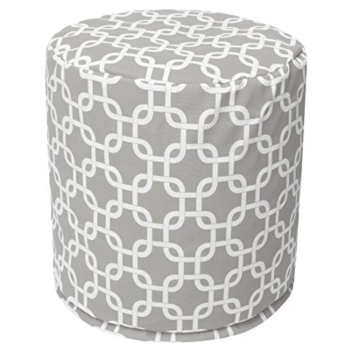 "Majestic Home Goods Gray Links Indoor / Outdoor Bean Bag Ottoman Pouf  16"" L x 16"" W x 17"" H from Majestic Home Goods"
