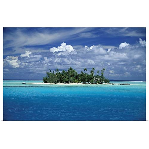 - GREATBIGCANVAS Poster Print Entitled Small Palm Tree Covered Tropical Island; French Polynesia by Paul Miles 18