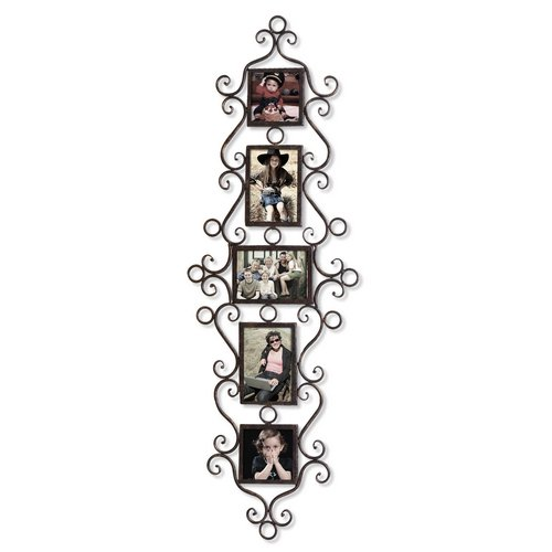 Homebeez 5-Opening Metal Picture Photo Frame Black with antique finish three 4*6 and two 4*4 Decorative Wall Hanging]()