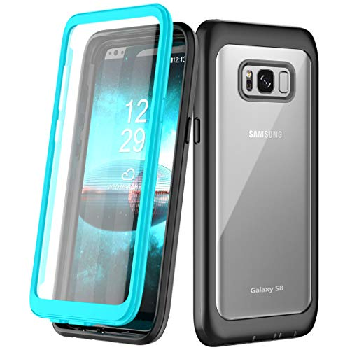 Samsung Galaxy S8 Case, Singdo Built-in Screen Protector Cover 360 Degree Protection Rugged Clear Bumper Case for Samsung Galaxy S8 (Teal)