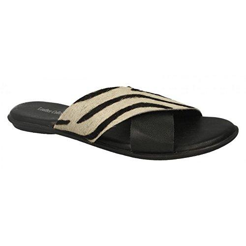 Leather Collection Womens/Ladies X Strap Vamp Sandals Black Zebra (Black) jFOsN2